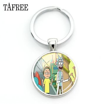 TAFREE Rick and Morty Keychains Best Friend Fashion Unique Keychain For Keys Boyfriend Gift Women Souvenir Badge Jewelry QF477