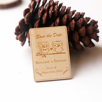 Owl Love Save the Date Magnets, Wedding Favors,  Gift Tags,  Laser cut and Etched on Wood, wedding save the date