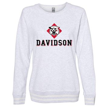 Official NCAA Davidson College PPDSC01 Women's Crewneck Sweatshirt with White Striped Edges