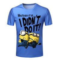 New Fashion Men T Shirts 3d Printed Funny Despicable Me Man Clothing Round Neck Boy Camisetas Short Sleeve Plus Size S-4XL