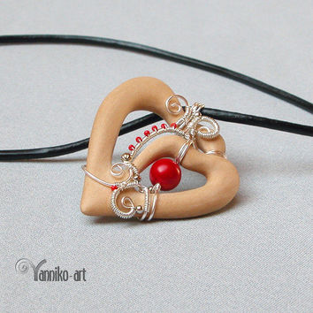 Heart wooden pendant with red genuine coral bead