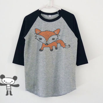 Fox tshirt toddlers children raglan shirt kids **boy girl clothes