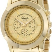 Breda Women's 2308-Gold Jordan Oversized Boyfriend Gold-Tone Watch