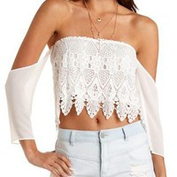 Off-The-Shoulder Crochet Crop Top by Charlotte Russe - White
