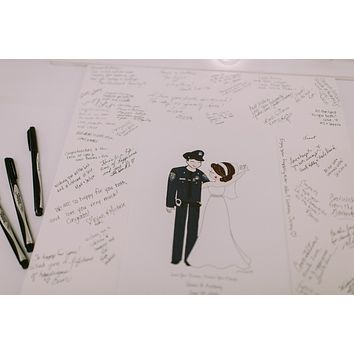 Wedding Guest Book Alternative with Couple Illustration