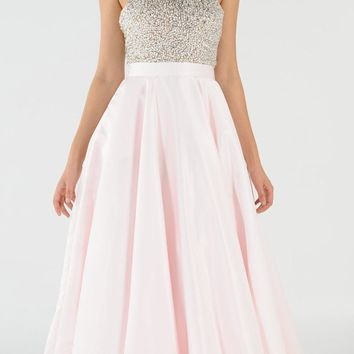 Blush Halter Beaded Open Back Long Prom Dress with Pockets