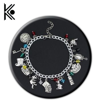 Alice in Wonderland Bracelets &Bangles Cat/Mad Hatter/Rabbit with Blue and Red Crystals Antique Silver DIY Charm Bracelets
