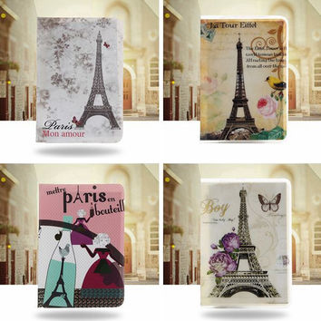PVC Passport Holder Identity ID Credit Card Cover Bags Document Folder Travel Passport Bags Lovely Eiffel Tower Patterns