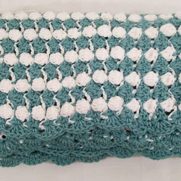 Crochet Baby Boy Blanket White and Teal Baby Shower gift #24