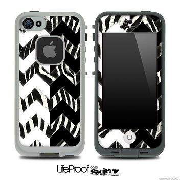 Real Zebra & Black/White Chevron Pattern Skin for the iPhone 5 or 4/4s LifeProof Case