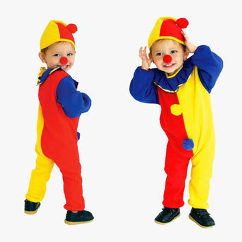 2017 Children Kids Baby Jumpsuits & Rompers+Hat Halloween Carnival Clown Circus Cosplay Costumes Performance Clothing Party