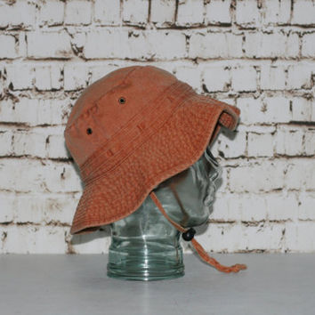 90s DPC Hat Boonie Sun Bucket Bush Safari Outback Wide Brim Orange M Dorfman Pacific Co Cotton Camping Gear Hiking Distressed Hinpster 80s