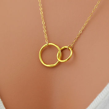 Double Circle Necklace, Eternity Necklace,  Double Rings, Karma Necklace