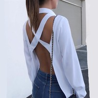 Women Crisscross Open Back Blouse Shirts Tops Sexy Backless Long Sleeve Turn-down Collar Autumn Shirt White Grey Solid Shirts