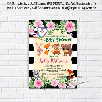 Woodland Animal Baby Shower, Jungle  woodland Invitation, bunny, bear, owl, deer, little girl party,  baby shower invitation - card 930