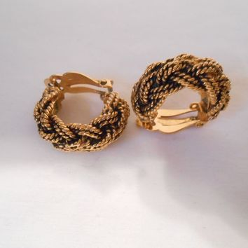 Chanel Half Hoop Rope Clip Back Earrings Made In France #2230 Signed X2