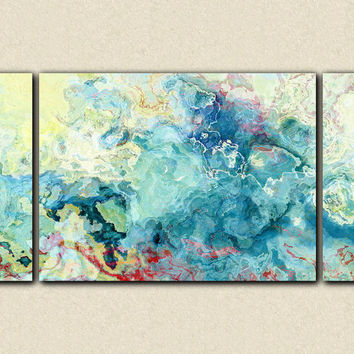 "Large triptych abstract art stretched canvas print, 30x60 in aqua, from abstract painting ""Cool as a Cucumber"""