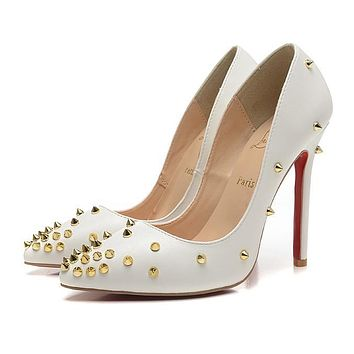 CL Christian Louboutin Women Rivet Pointed Toe Heels Shoes