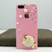 iphone 5 case fish   pearls pink case iphone case iPhone cover  10 color choices