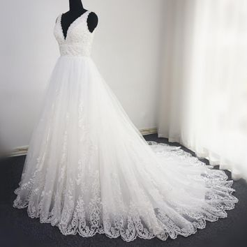 V Neck Lace Beaded Wedding Dress Big A Line Empire Sequin Lace Bridal Gown