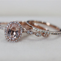 VS 6x8mm Pink Morganite Ring with Diamond Matching Band Wedding Ring Set 14K Rose Gold Morganite Ring Diamond Engagement Ring -3 Rings Set