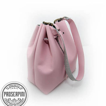 Blush pink pouch, Drawstring bag, Real leather, Women shoulder bag, Bridesmaid bag, Handmade, Free personalized, Bride, Make up bag, Leather