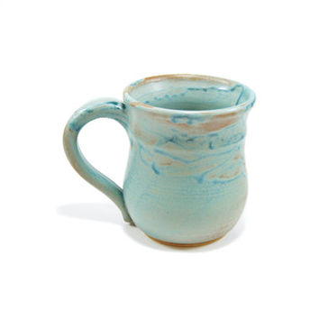 Rustic turquoise and tan pottery coffee cup - ceramic coffee mug - seafoam mug - beer stein - pretty mug - pottery mug - large pottery mug
