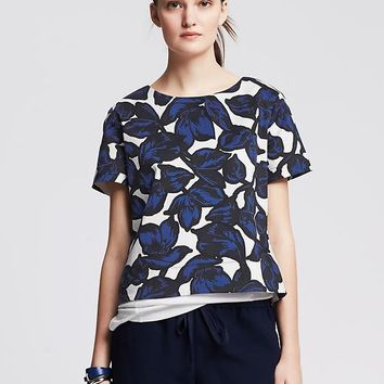 Floral Sateen Cropped Top