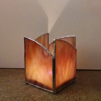Stained Glass Candle Holder - Mauve and Gold Swirl - Home Decor - Lighting - Votive Holder - Pencil Holder - Hostess Gift, Housewarming Gift