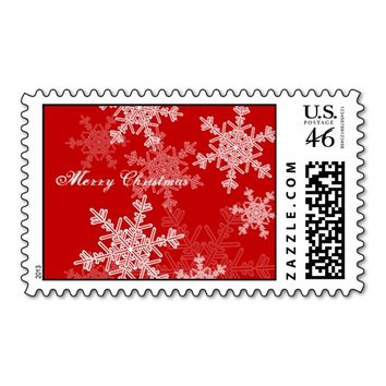 Girly red and white Christmas snowflakes Postage