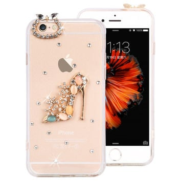 Popular clear soft TPU+PC protect cover Dust plug bottle shoes crown Crystal Diamond design phone cases for iphone 6 6S 4.7""