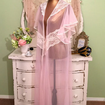 Vintage Robe Peignoir, Chiffon Robe, Sheer Kaftan Robe, Pink Dressing Gown, Elegant Lace Robe, Angel Sleeve Robe, Womens One Size Fits All