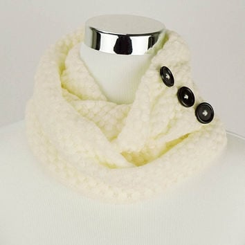 Cream White Knit Scarf White Knit Infinity Scarf White Scarf White Knitted Scarf Button Scarf White Knitted Infinity Scarves Gifts for Her
