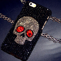 Metal Skull Skeleton Red Eyes Bling Capa Cases for Samsung Galaxy S8 S8 Plus S6 S7 Edge S7 S5 Note 5 iPhone 7 6/6 Plus 5 5S 4