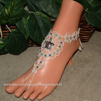 Silver Turtle Barefoot Sandals Jewellry Foot Body Chain Jewelry Womens Toe Ring Ankle Bracelet Sandal Beach Wedding Crochet Turtle Jewelry