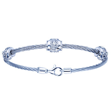 Gabriel Sterling Silver & Steel Cable Stackable Scrollwork Diamond Bangle Bracelet