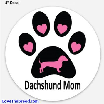 Dachshund Mom Decal Circle