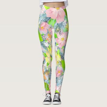 Colorful flower pattern leggings