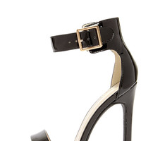 My Delicious Canter Black Patent Ankle Strap Heels