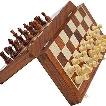 Handmade Wooden Foldable Chess Set, Brown By Benzara