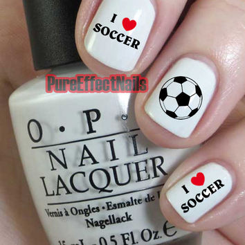 I Love Soccer Nail Decals