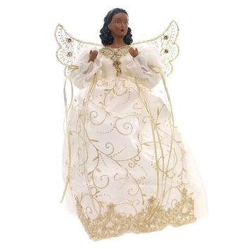 Christmas WHITE/GOLD ANGEL TREETOP Fabric African American 32655