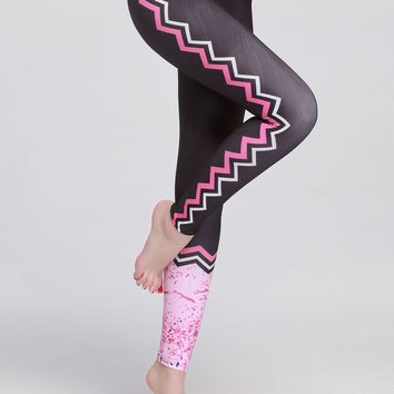 UPF 50+ Women's Leggings - Sun Protective Black with Pink Pattern Printed Running Tights
