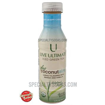 Live Ultimate Organic Iced Green Tea plus Coconut Aloe 12oz Plastic Bottle