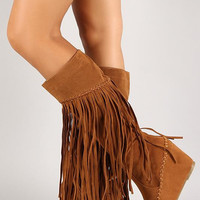 Suede Fringe Knee High Wedge Boot Color: Tan, Size: 8.5