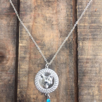 Silver Fox Charm and Blue Stone Necklace