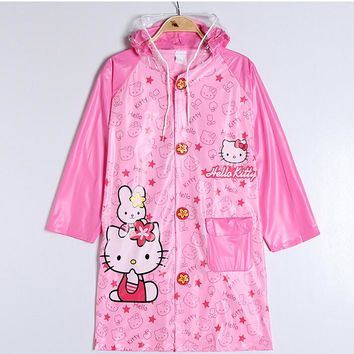 Kawaii PVC Hello Kitty Doraemon Mickey Minnie Raincoat Pincho Child