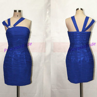 2014 short homecoming dress in royal blue,sexy sheathy prom dresses hot,unique chic women gowns for holiday party.