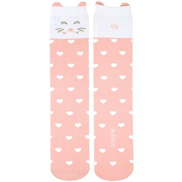 Girl's Socks Knee High Soft Cotton Cute Cat Fashion Sock Pink