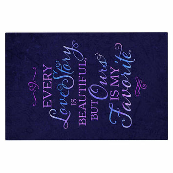 "Noonday Design ""Every Love Story Is Beautiful"" Blue Purple Decorative Door Mat"